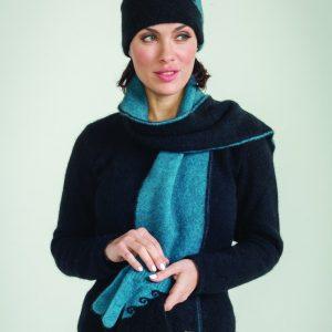 KO179 KO128 KO59 Two tone koru beanie scarf and gloves in pacific black