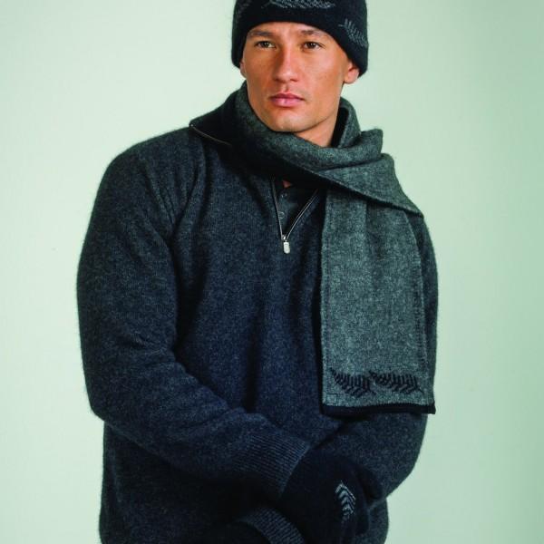 KO209 KO149 Fern beanie and scarf in grey black