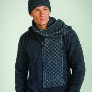 KO216 KO156 Basketweave beanie and scarf in grey black
