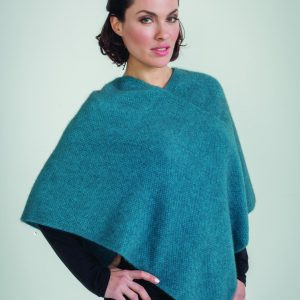 KO757 Moss stitch poncho in pacific2