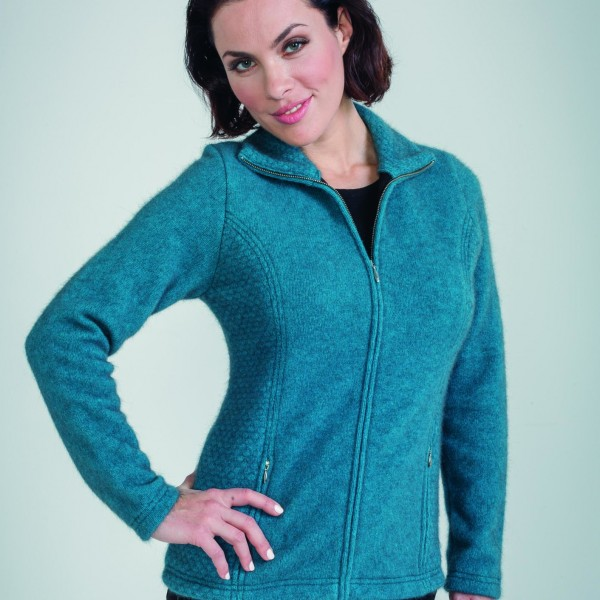KO760 Textured zip jacket in pacific