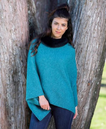 Fur Trim Zip Poncho – KO523